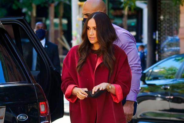 Picture for Meghan Markle Sports a Relaxed Red Suit for a Visit to a Harlem Elementary School