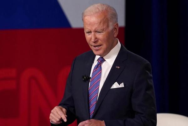 Picture for Biden fields voter questions about his agenda at town hall