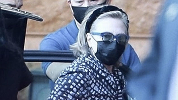 Cover for Hillary Clinton & Daughter Chelsea Arrive At LA Hospital To Visit Bill, 75, In ICU – Photos