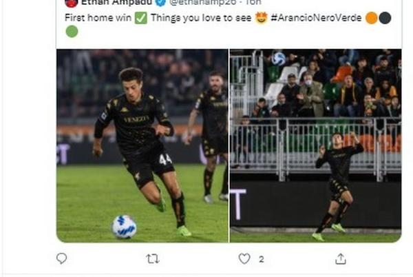 Picture for 'Let's go star boy' - Chelsea fans love what on-loan Ethan Ampadu did for Venezia