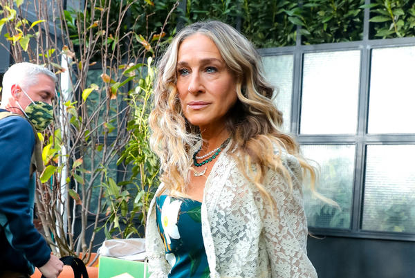 Picture for Sarah Jessica Parker Dazzles in Carrie Bradshaw Flair in a Strapless Floral Print Dress and Cutout Silver Sandals for 'And Just Like That'