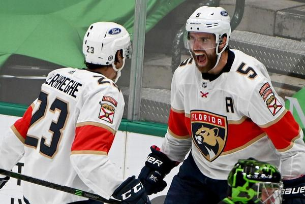 Picture for Aaron Ekblad at Florida Panthers' camp, six months after breaking leg