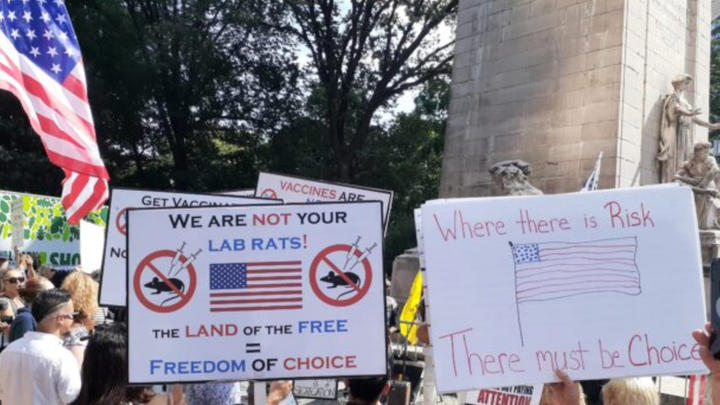 """Cover for """"No Vaccine Passports!"""" Freedom Rally in New York City this weekend."""