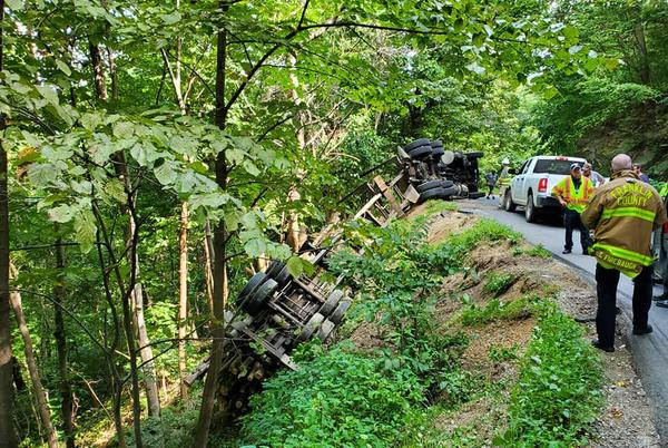 Picture for Driver injured after tractor-trailer overturns along road, Callaway fire officials say
