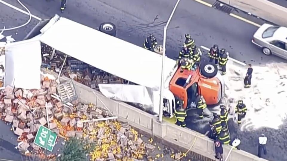 Picture for A delivery truck tipped over and spilled vegetables all over the Brooklyn Queens Expressway