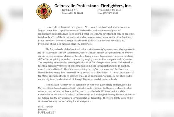 Picture for A Gainesville firefighter group casts a vote of no confidence in Mayor Lauren Poe