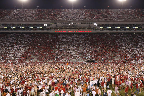 Picture for Arkansas AD Hunter Yurachek expected fine for fans storming field after Texas win: 'It was worth it'