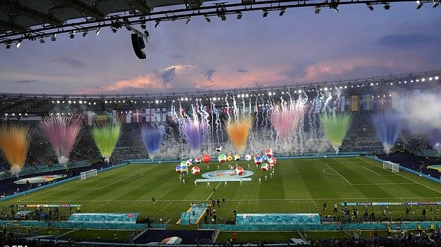 Picture for Euro 2020 opens with a bang! Andrea Bocelli performs a stirring rendition of 'Nessun Dorma', fireworks light up the Rome sky and Italian legends Francesco Totti and Alessandro Nesta soak in the atmosphere before kick off against Turkey