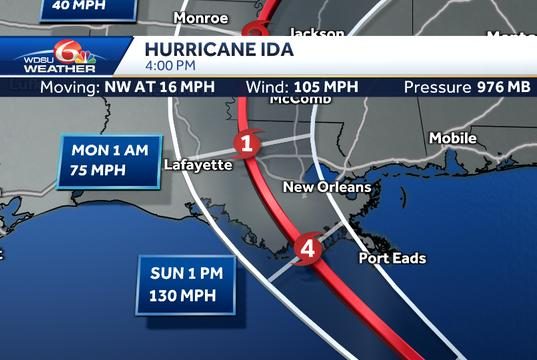 Picture for Hurricane Ida quickly strengthens to category 2 storm