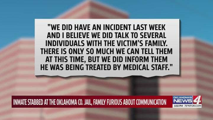 Cover for Local family says relative stabbed over 30 times at Oklahoma County Detention Center, claims jail staff didn't notify them