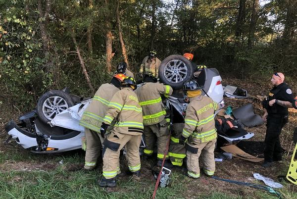 Picture for Firefighters work to extricate driver – Highway 29