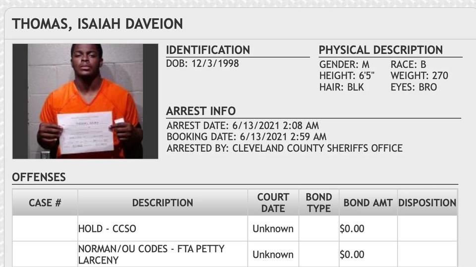 Picture for Oklahoma DL Isaiah Thomas Arrested