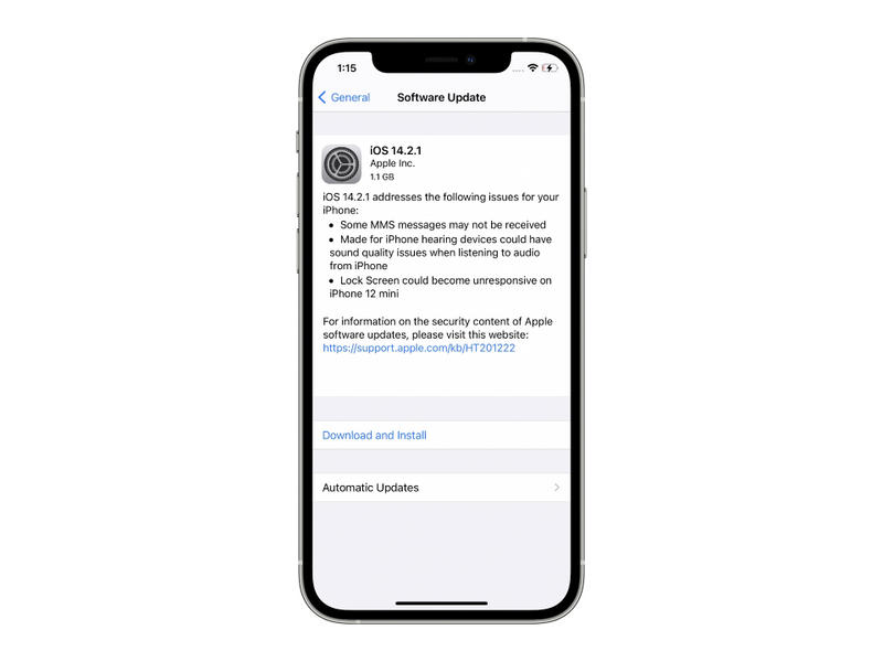 Apple Releases iOS 14.2.1 for iPhone 12/Pro/Max/mini