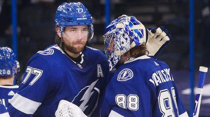 Picture for Lightning's Andrei Vasilevskiy and Victor Hedman recieve league honors from their peers