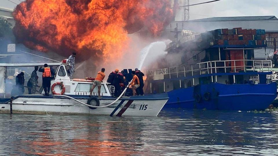 Picture for At least 6 injured in cargo ship fire at Manila wharf