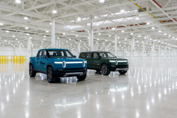 Picture for Rivian's first production R1T electric pickup truck rolls off the line