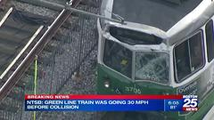 Cover for NTSB: Green Line train that struck other trolley Friday was over speed limit by 20 MPH