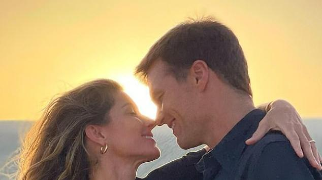 Picture for Gisele Bundchen calls husband Tom Brady her 'forever Valentine' as she shares a romantic sunset photo of the pair embracing