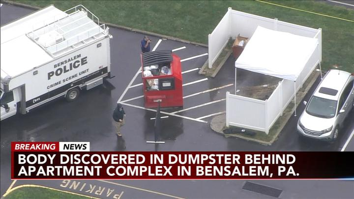 Cover for Body found in dumpster near Bensalem, Pa. apartment complex