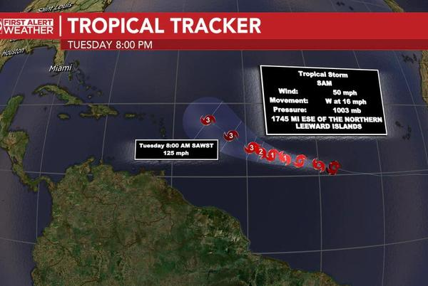 Picture for Tropical Storm Sam forms, and is expected to become a major hurricane