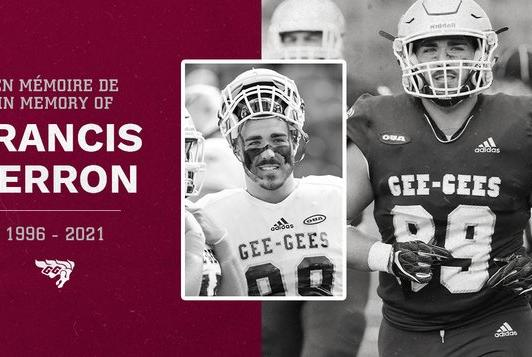 Picture for Francis Perron, a fifth-year Ottawa Gee-Gees' defensive lineman, passed away at 25 Saturday after a game in Toronto