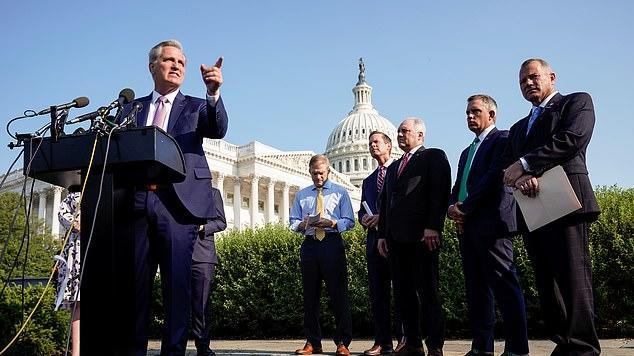 Picture for Kevin McCarthy says Pelosi's riot committee is a 'sham' that 'no one will believe' and Elise Stefanik claims Nancy is responsible for the January 6 'tragedy' at press conference with the five Republicans pulled from panel