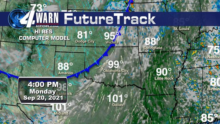 Cover for Tracking strong cold front across Oklahoma Monday.