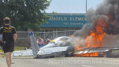 Cover for Small plane crashes in front of Blue Angels Elementary in Pensacola