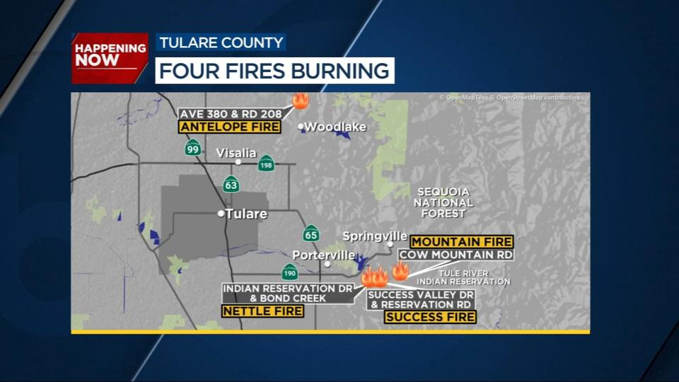 Picture for Firefighters battling multiple wildland fires in Tulare County