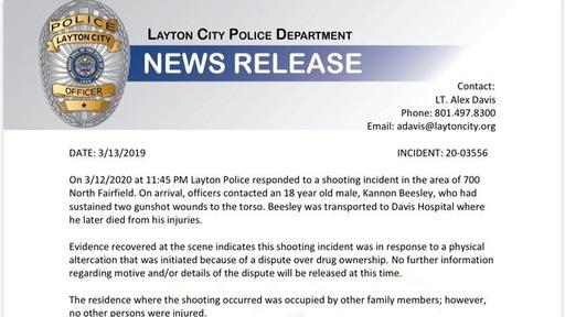 New Details 18 Year Old Shot In Front Of His Family Over Drug Dispute Layton Police Say News Break