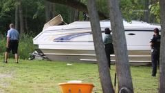 Cover for Holiday Hills boat crash: Man found dead after speedboat runs aground, hits tree, catches fire
