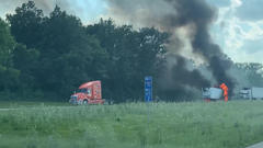 Cover for Tractor trailer fire closes portion of I-70