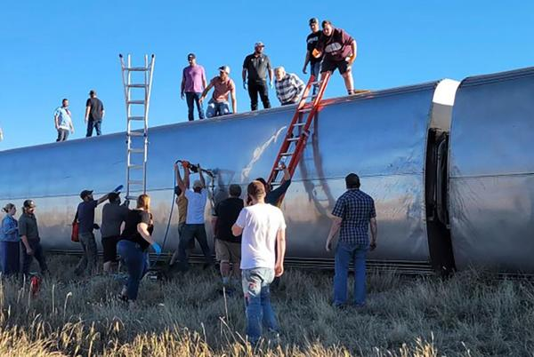 Picture for At least 3 people are dead after an Amtrak train derailed in Montana