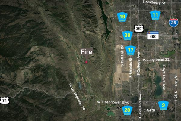 Picture for Fire burning in Larimer County