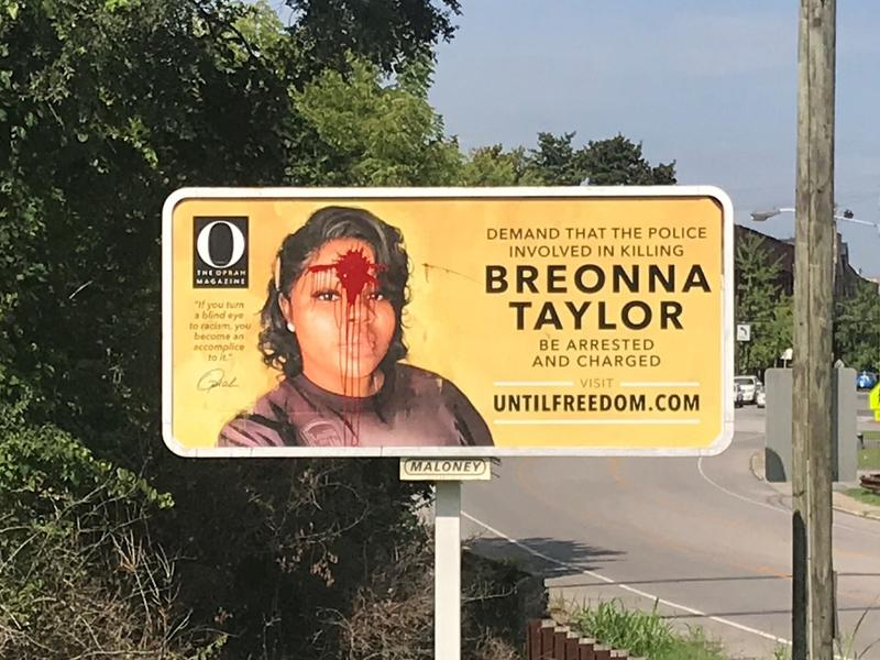 Breonna Taylor Billboard In Louisville One Of 26 Placed By The Oprah Magazine Vandalized With Red Paint News Break