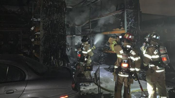 Cover for Firefighters Respond To Fire At Vehicle Recycling Facility In Rancho Cordova