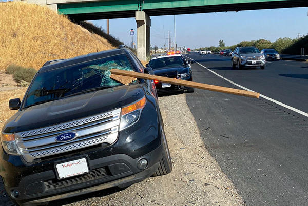 Picture for Piece of wood becomes airborne and crashes through driver's windshield