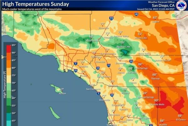 Picture for Cooler temperatures and possible rain coming to Southern California