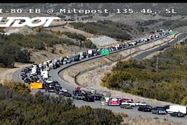Picture for Semi rollover causes major delays on I-80 into Parley's Canyon