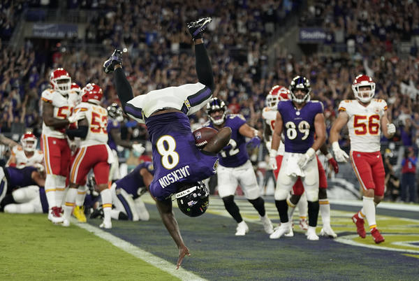 Picture for Lamar Jackson 'Kind of Sore' After Flip into End Zone: 'I'd Probably Do It Again'