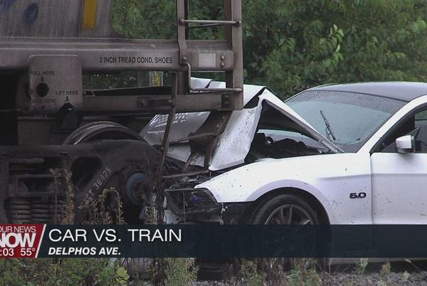 Picture for Man hospitalized after crashing car into train car