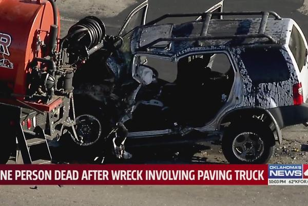 Picture for Moore man dies after wreck involving paving truck in Oklahoma City