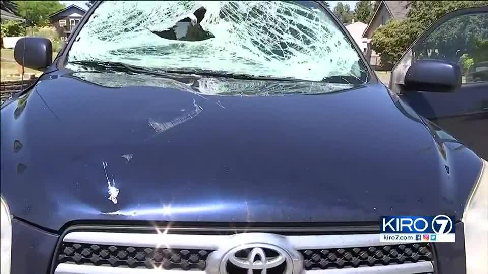 Picture for 'Lucky' driver says sign shattered his windshield as he drove on I-5