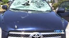 Cover for 'Lucky' driver says sign shattered his windshield as he drove on I-5