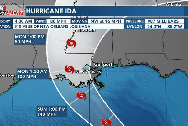 Picture for Storm Surge and Tropical Storm Warnings posted for South MS ahead of Ida