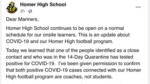 Two Homer Mariner Football Coaches Test Positive For Covid 19 News Break It assesses students' level of knowledge, skill acquisition, and/or content understanding. news break
