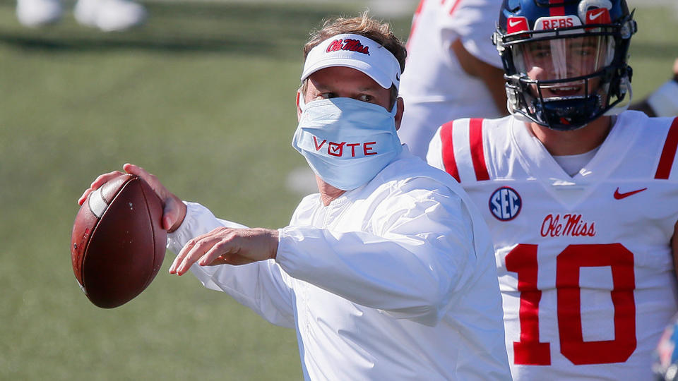 Picture for See Lane Kiffin's near-perfect ceremonial first pitch to Ole Miss QB and outfielder John Rhys Plumlee