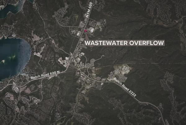 Picture for Broken main spills 100,000 gallons of wastewater in northwest Austin