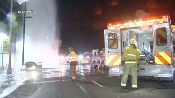 Cover for Vehicle Crashes into Van Nuys Fire Hydrant, 1 Injured