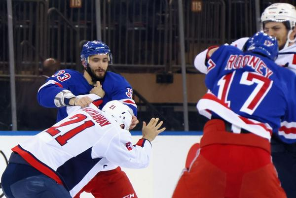 Picture for New York Rangers, Washington Capitals square off with six fights in first period as Tom Wilson controversy carries over